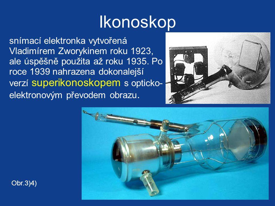Ikonoskop snímací elektronka vytvořená Vladimírem Zworykinem roku 1923, ale úspěšně použita až roku 1935.