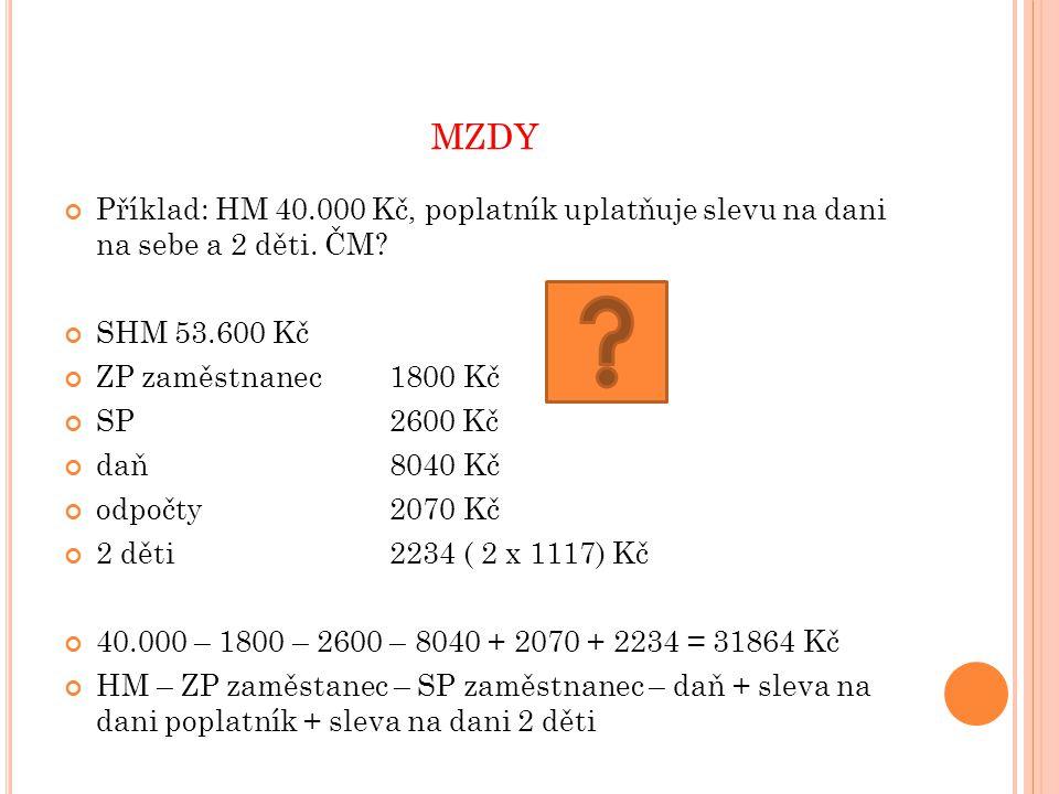 MZDY Příklad: HM 40.000 Kč, poplatník uplatňuje slevu na dani na sebe a 2 děti.