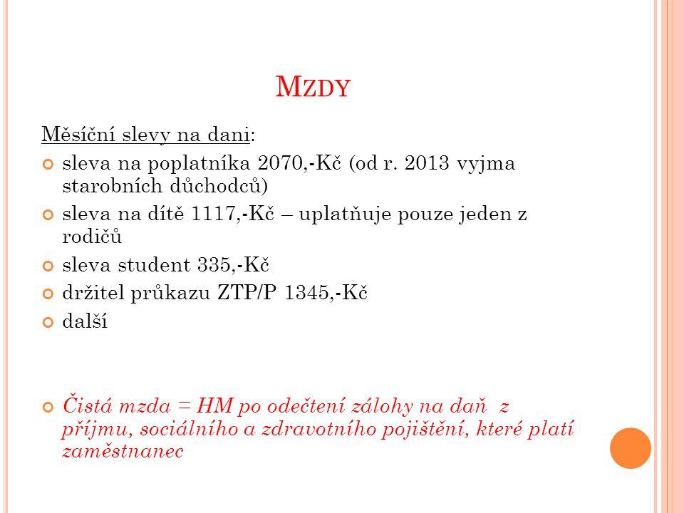 M ZDY Měsíční slevy na dani: sleva na poplatníka 2070,-Kč (od r.