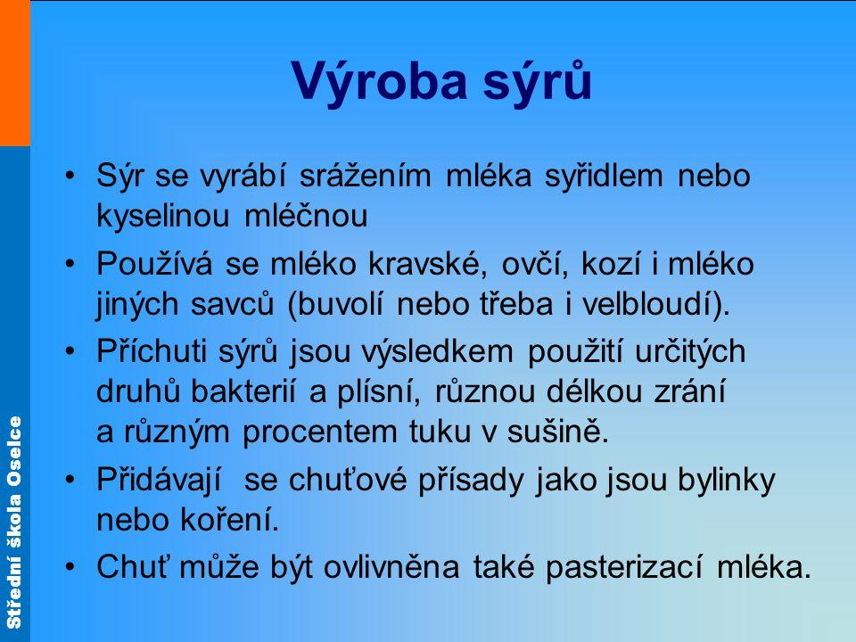 Střední škola Oselce Polotvrdé sýry Eidam Obr.11 Ementál Obr.12