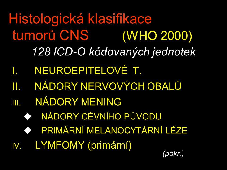 Histologická klasifikace tumorů CNS (WHO 2000) 128 ICD-O kódovaných jednotek I.