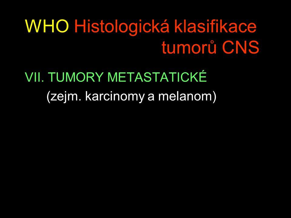 WHO Histologická klasifikace tumorů CNS VII. TUMORY METASTATICKÉ (zejm. karcinomy a melanom)