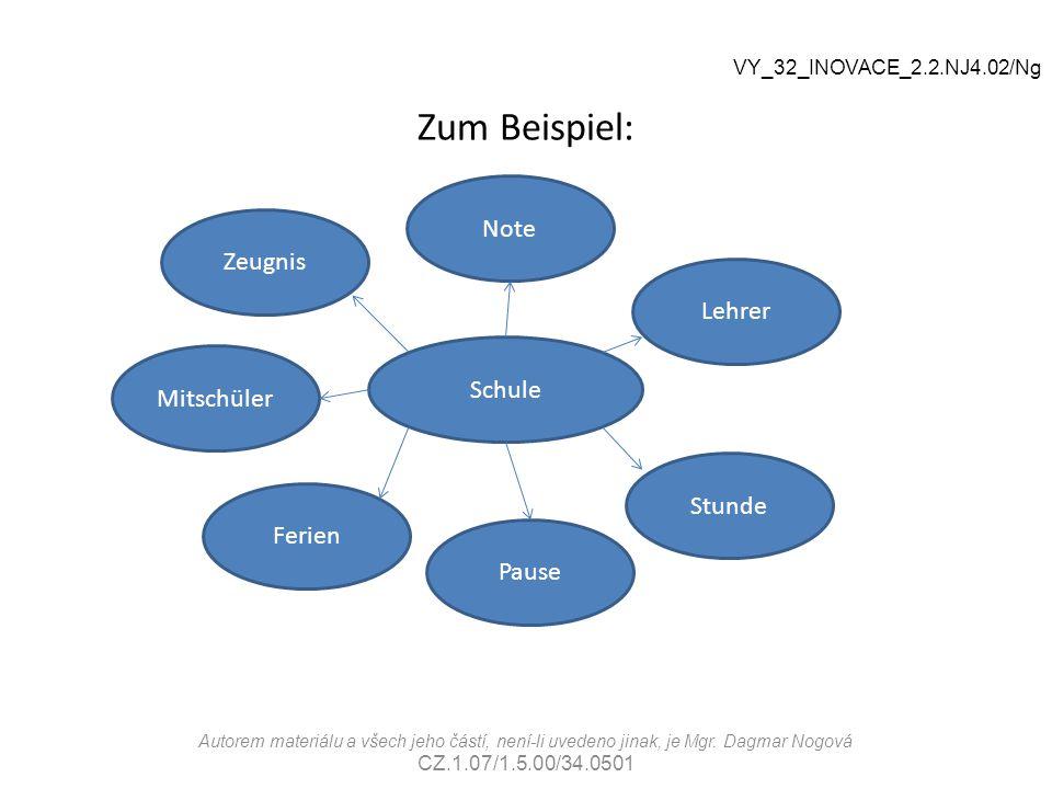 Zum Beispiel: Schule Note Pause Zeugnis Ferien Stunde Lehrer Mitschüler VY_32_INOVACE_2.2.NJ4.02/Ng Autorem materiálu a všech jeho částí, není-li uved