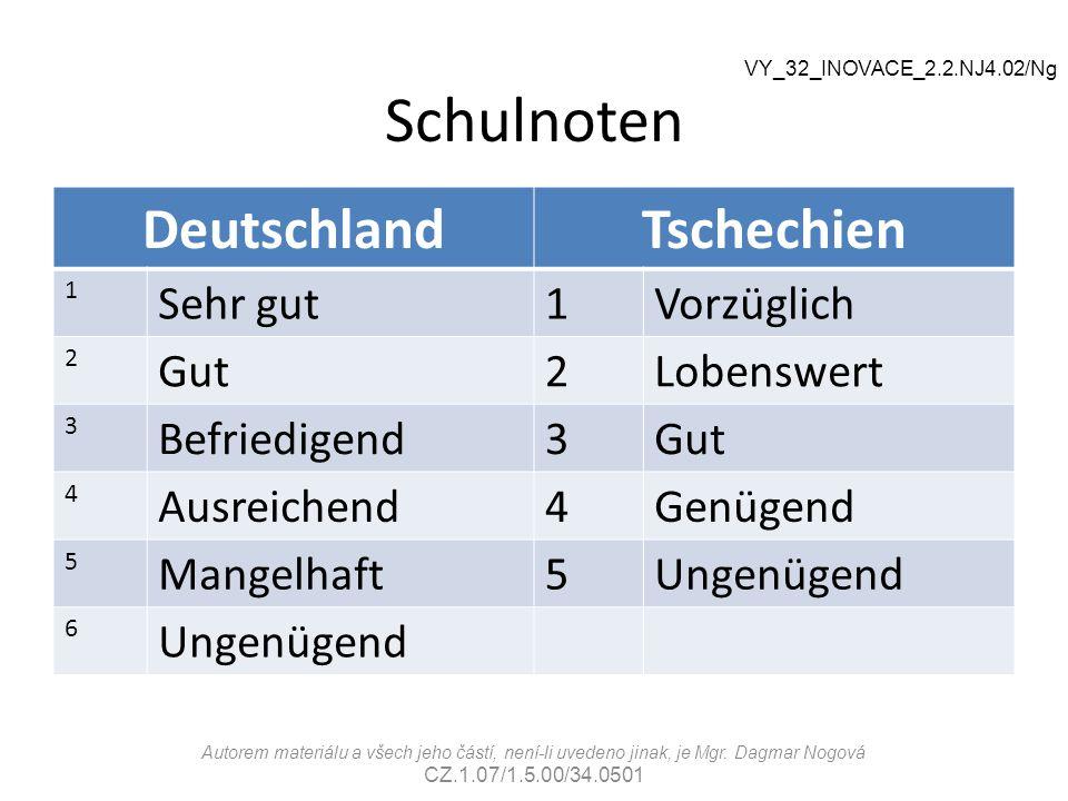 Schulnoten DeutschlandTschechien 1 Sehr gut1Vorzüglich 2 Gut2Lobenswert 3 Befriedigend3Gut 4 Ausreichend4Genügend 5 Mangelhaft5Ungenügend 6 VY_32_INOV