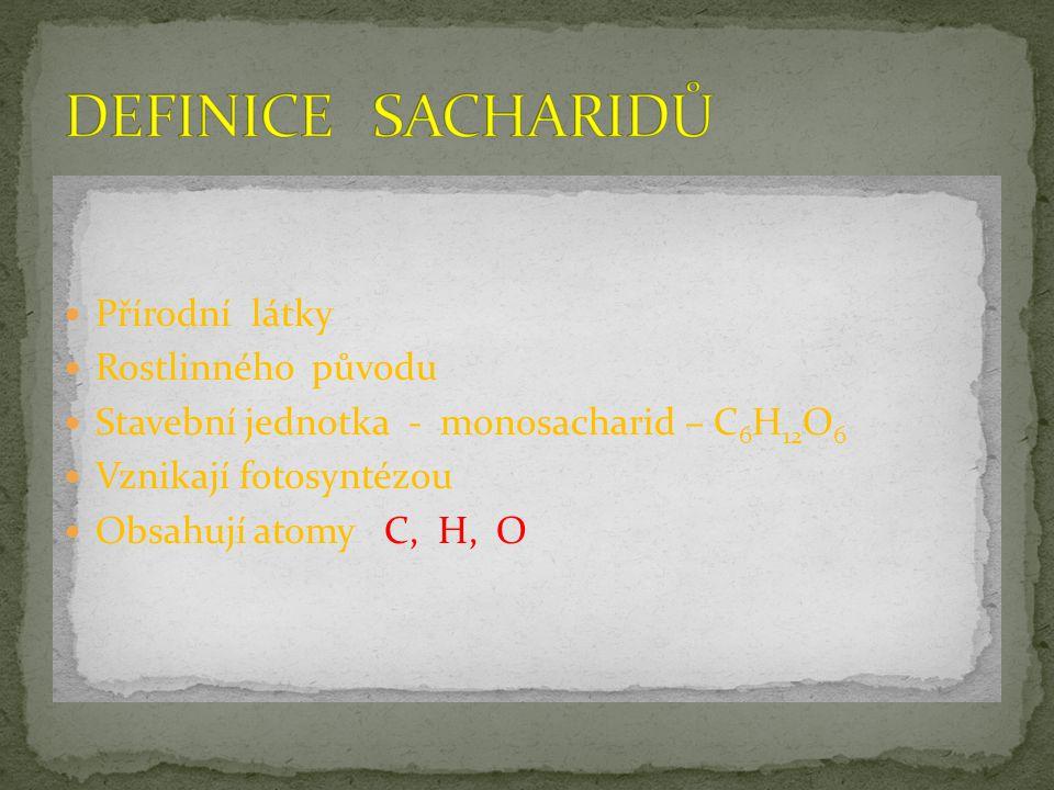 Přírodní látky Rostlinného původu Stavební jednotka - monosacharid – C 6 H 12 O 6 Vznikají fotosyntézou Obsahují atomy C, H, O