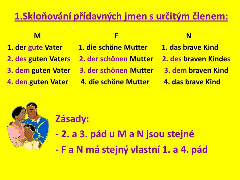 1.Skloňování přídavných jmen s určitým členem: M F N 1. der gute Vater 1. die schöne Mutter 1. das brave Kind 2. des guten Vaters 2. der schönen Mutte