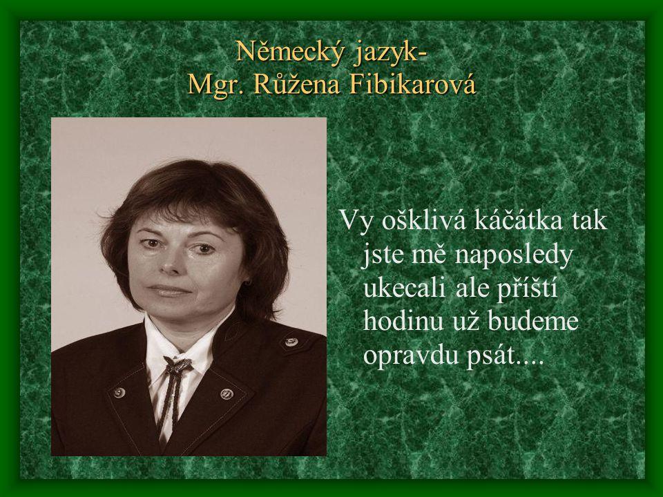 Německý jazyk- Mgr. Růžena Fibikarová Vy ošklivá káčátka tak jste mě naposledy ukecali ale příští hodinu už budeme opravdu psát....