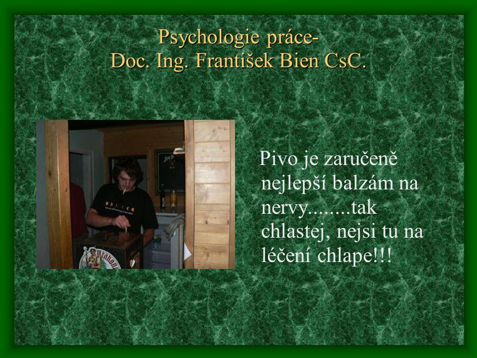 Psychologie práce- Doc. Ing. František Bien CsC. Pivo je zaručeně nejlepší balzám na nervy........tak chlastej, nejsi tu na léčení chlape!!!