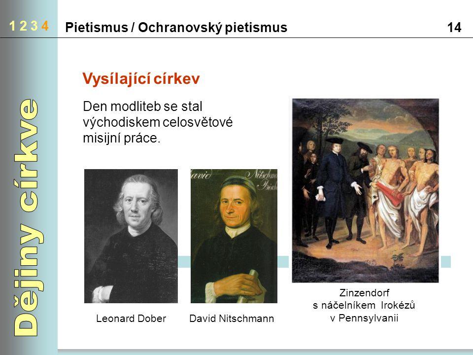Pietismus / Ochranovský pietismus14 1 2 3 4 Vysílající církev Leonard DoberDavid Nitschmann Zinzendorf s náčelníkem Irokézů v Pennsylvanii Den modlite
