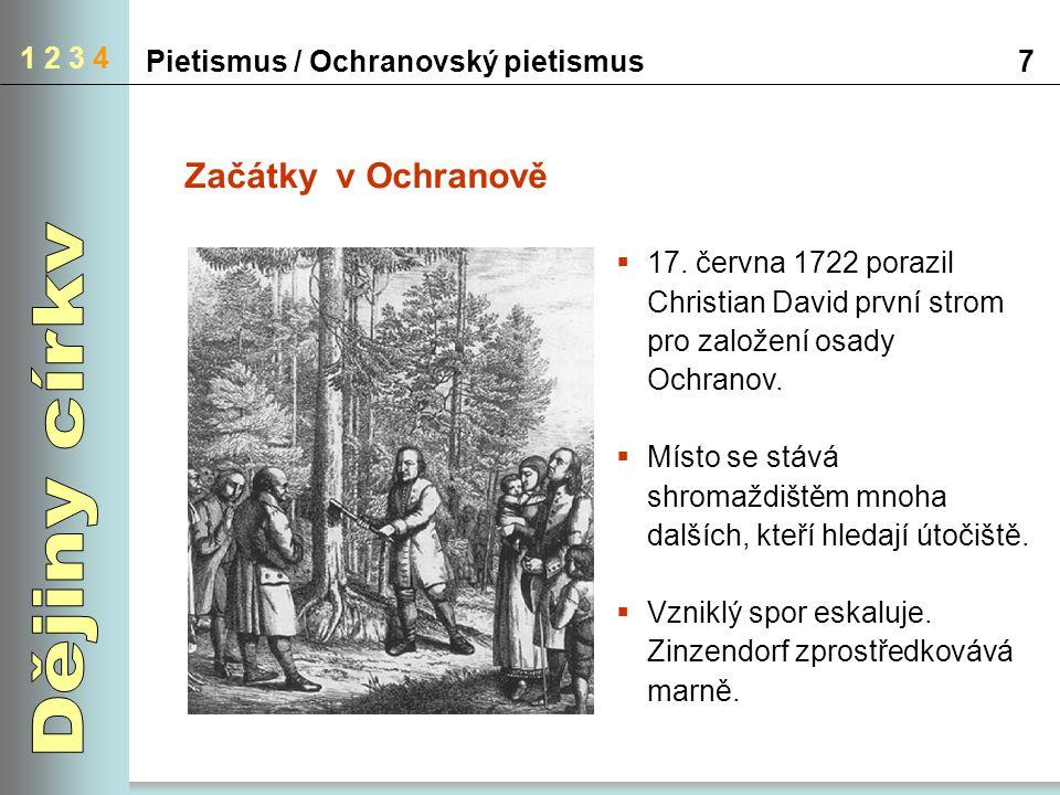 Pietismus / Ochranovský pietismus7 1 2 3 4 Začátky v Ochranově  17. června 1722 porazil Christian David první strom pro založení osady Ochranov.  Mí