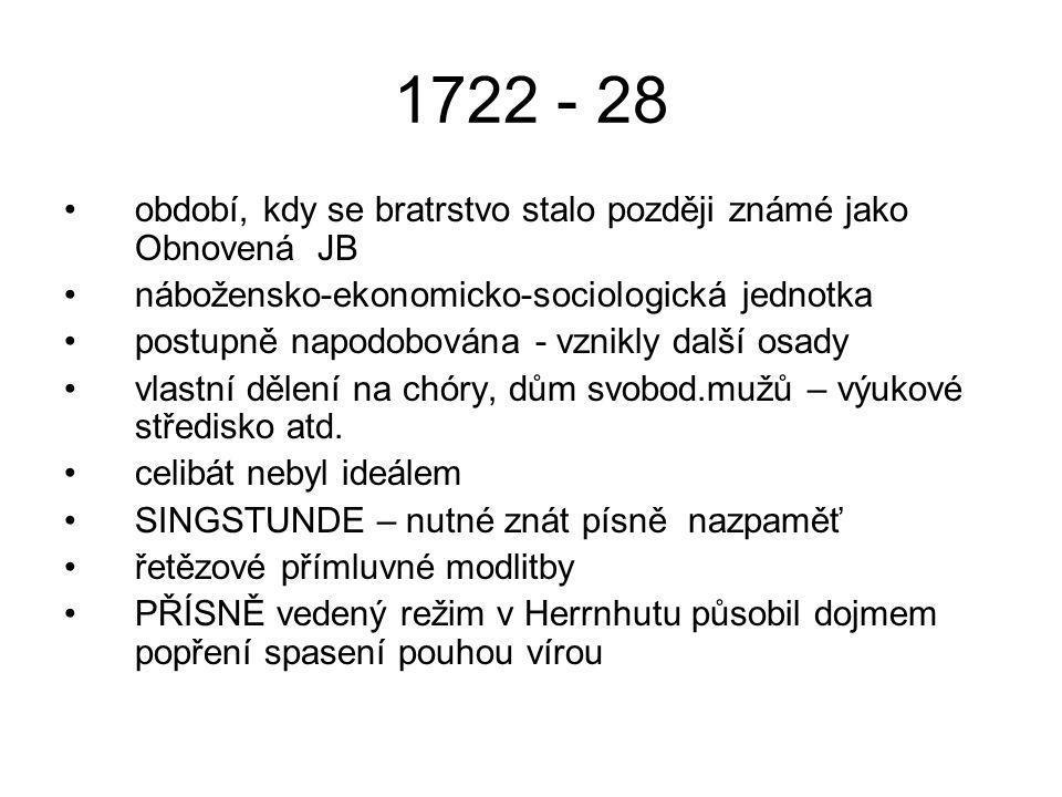 1722 - 28 období, kdy se bratrstvo stalo později známé jako Obnovená JB nábožensko-ekonomicko-sociologická jednotka postupně napodobována - vznikly da