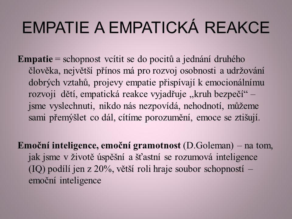 EMPATIE A EMPATICKÁ REAKCE Empatie = schopnost vcítit se do pocitů a jednání druhého člověka, největší přínos má pro rozvoj osobnosti a udržování dobr