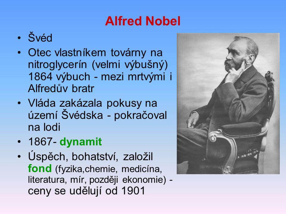 Alfred Nobel Švéd Otec vlastníkem továrny na nitroglycerín (velmi výbušný) 1864 výbuch - mezi mrtvými i Alfredův bratr Vláda zakázala pokusy na území