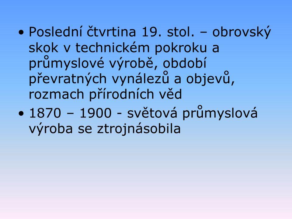 Poslední čtvrtina 19. stol. – obrovský skok v technickém pokroku a průmyslové výrobě, období převratných vynálezů a objevů, rozmach přírodních věd 187