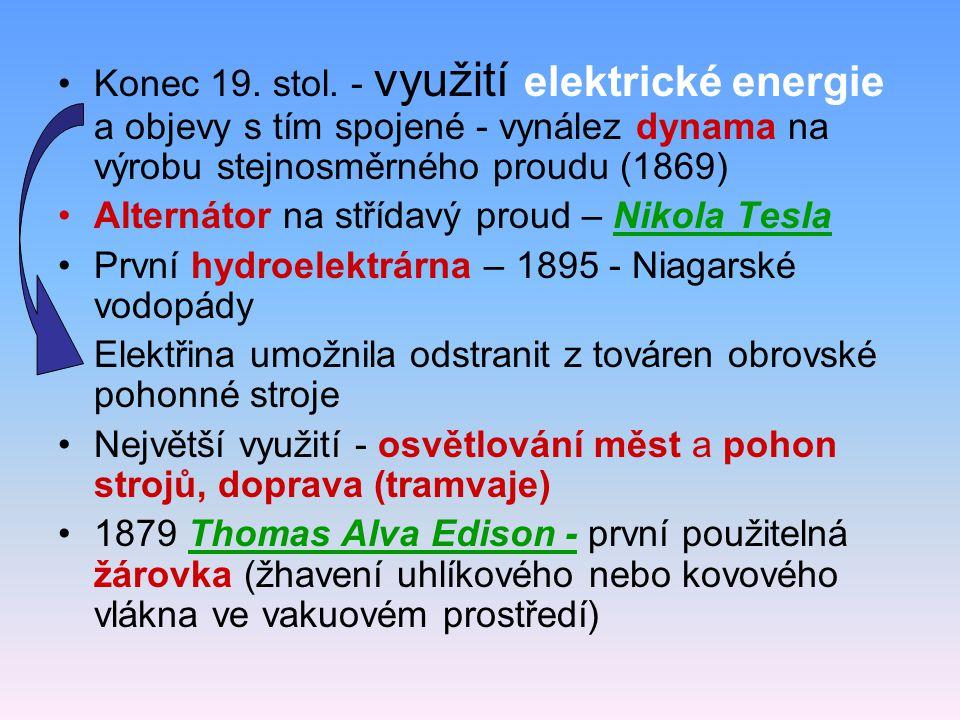 Konec 19. stol. - využití elektrické energie a objevy s tím spojené - vynález dynama na výrobu stejnosměrného proudu (1869) Alternátor na střídavý pro
