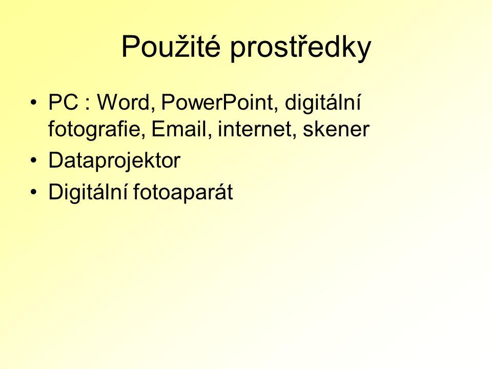 Použité prostředky PC : Word, PowerPoint, digitální fotografie, Email, internet, skener Dataprojektor Digitální fotoaparát