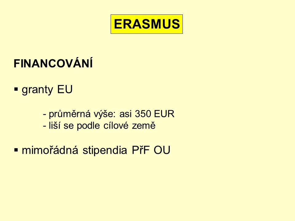 FINANCOVÁNÍ  granty EU - průměrná výše: asi 350 EUR - liší se podle cílové země  mimořádná stipendia PřF OU