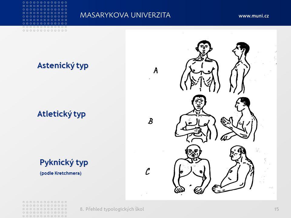 8. Přehled typologických škol15 Astenický typ Atletický typ Pyknický typ (podle Kretchmera)