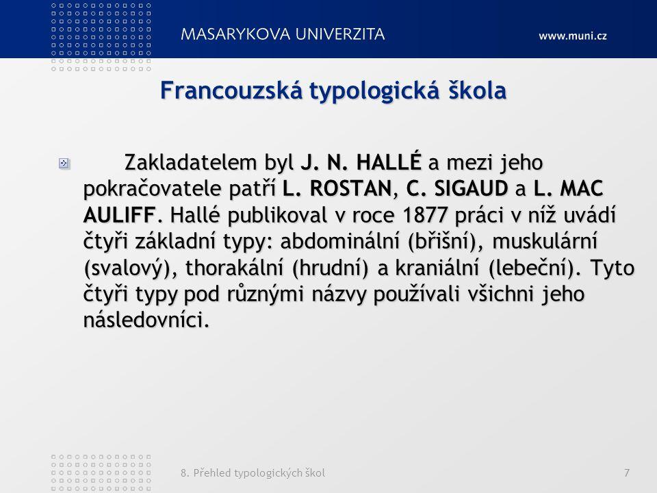 8.Přehled typologických škol7 Francouzská typologická škola Zakladatelem byl J.