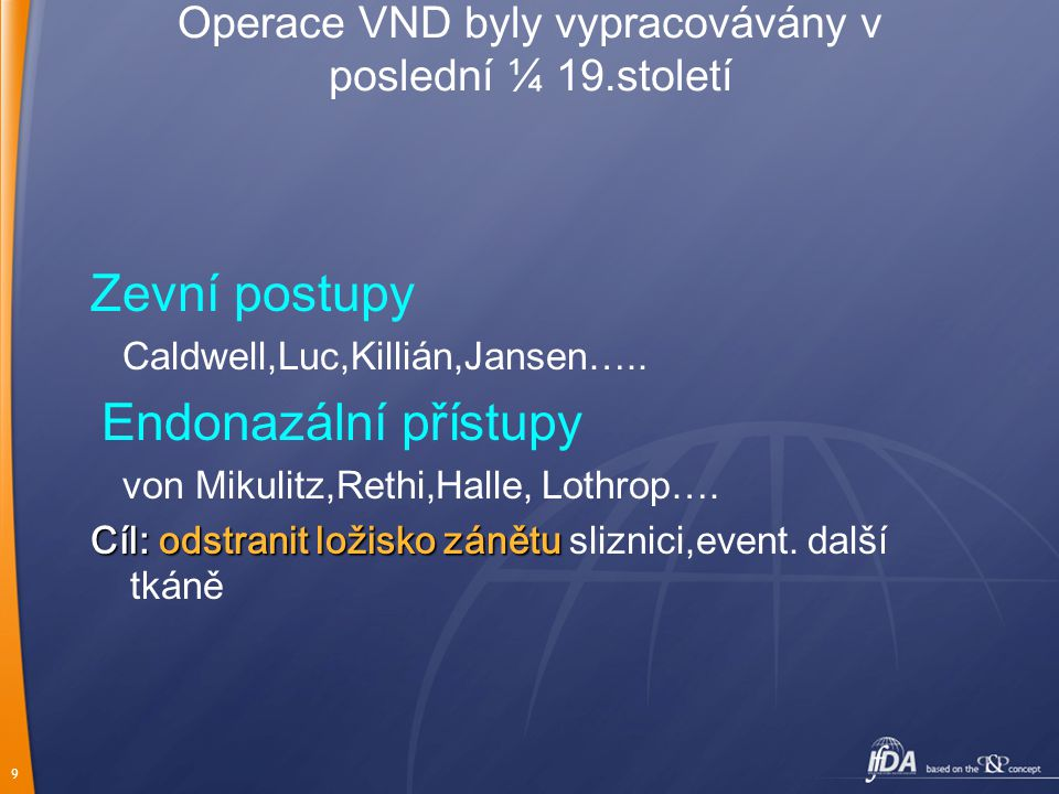 9 Operace VND byly vypracovávány v poslední ¼ 19.století Zevní postupy Caldwell,Luc,Killián,Jansen….. Endonazální přístupy von Mikulitz,Rethi,Halle, L