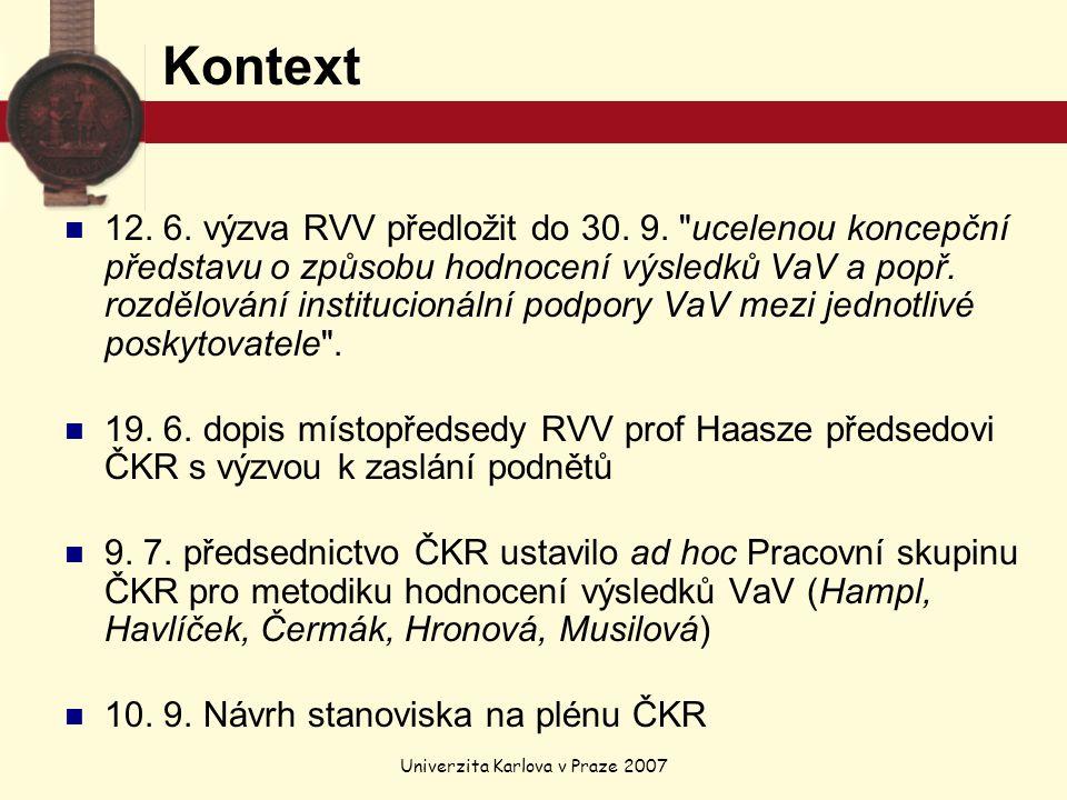Univerzita Karlova v Praze 2007 Kontext 12. 6. výzva RVV předložit do 30.