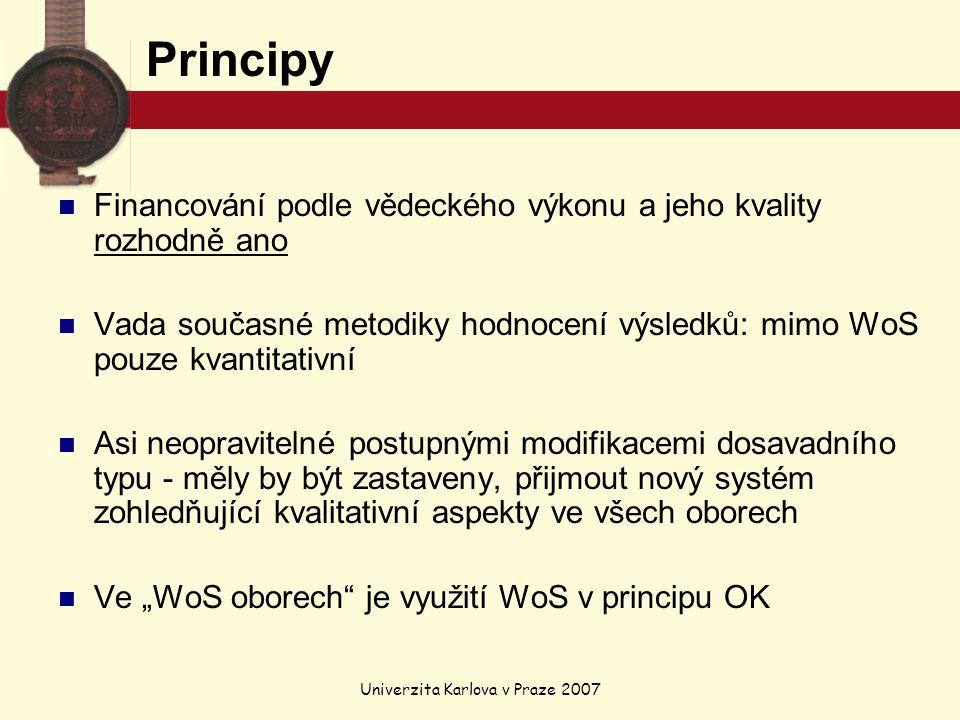 """Univerzita Karlova v Praze 2007 Principy Financování podle vědeckého výkonu a jeho kvality rozhodně ano Vada současné metodiky hodnocení výsledků: mimo WoS pouze kvantitativní Asi neopravitelné postupnými modifikacemi dosavadního typu - měly by být zastaveny, přijmout nový systém zohledňující kvalitativní aspekty ve všech oborech Ve """"WoS oborech je využití WoS v principu OK"""
