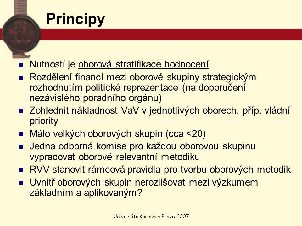 Univerzita Karlova v Praze 2007 Principy Nutností je oborová stratifikace hodnocení Rozdělení financí mezi oborové skupiny strategickým rozhodnutím politické reprezentace (na doporučení nezávislého poradního orgánu) Zohlednit nákladnost VaV v jednotlivých oborech, příp.