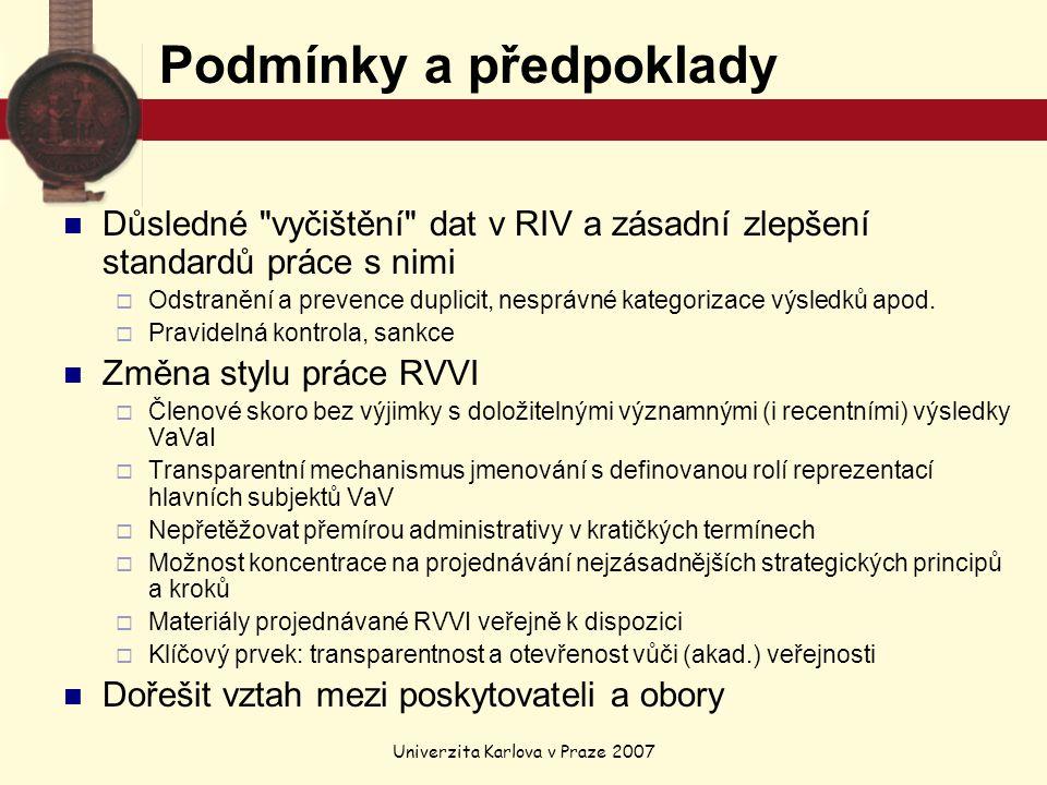 Univerzita Karlova v Praze 2007 Podmínky a předpoklady Důsledné vyčištění dat v RIV a zásadní zlepšení standardů práce s nimi  Odstranění a prevence duplicit, nesprávné kategorizace výsledků apod.