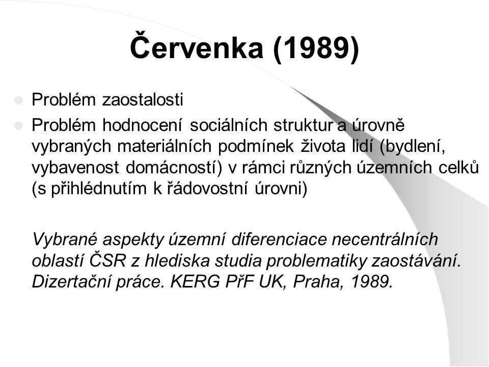 Červenka (1989) Problém zaostalosti Problém hodnocení sociálních struktur a úrovně vybraných materiálních podmínek života lidí (bydlení, vybavenost do