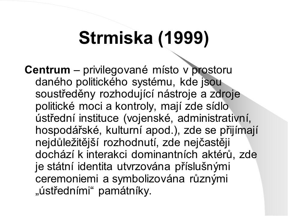 Strmiska (1999) Centrum – privilegované místo v prostoru daného politického systému, kde jsou soustředěny rozhodující nástroje a zdroje politické moci