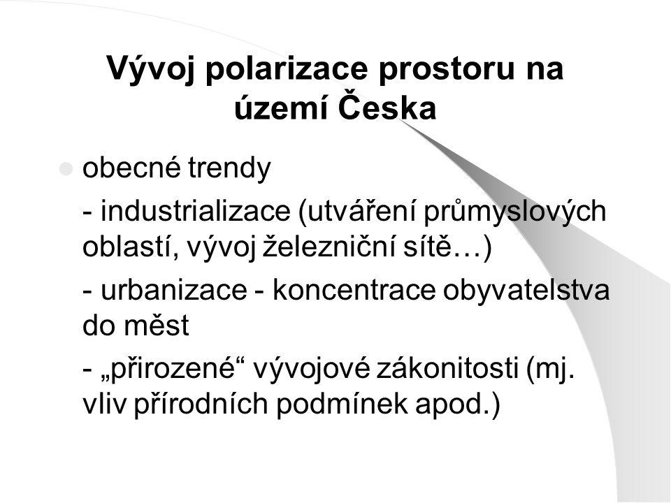 Vývoj polarizace prostoru na území Česka obecné trendy - industrializace (utváření průmyslových oblastí, vývoj železniční sítě…) - urbanizace - koncen
