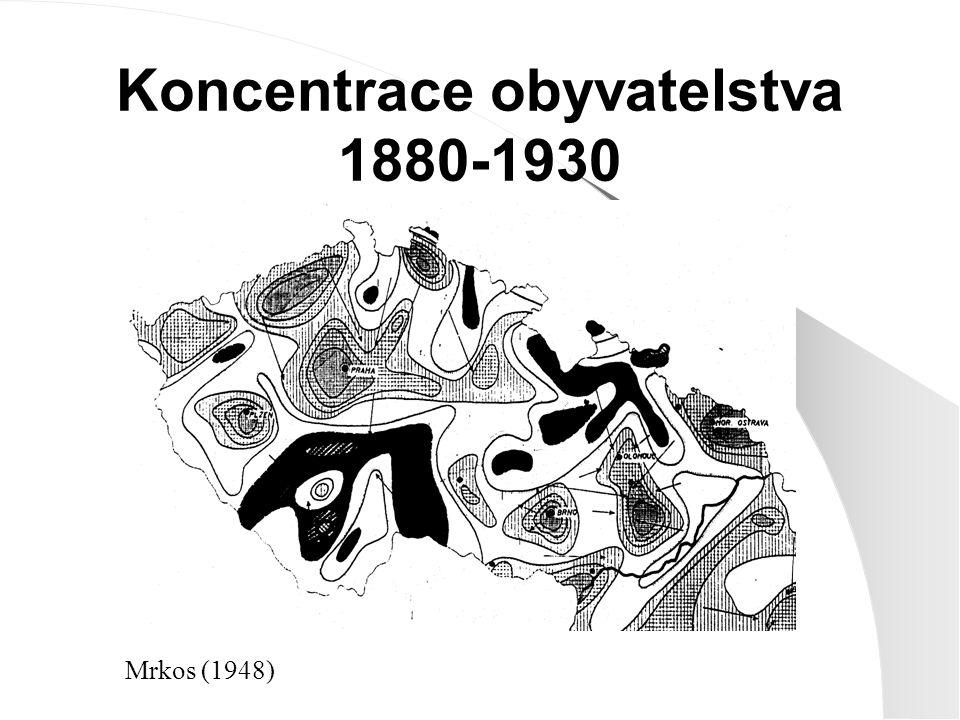 Koncentrace obyvatelstva 1880-1930 Mrkos (1948)