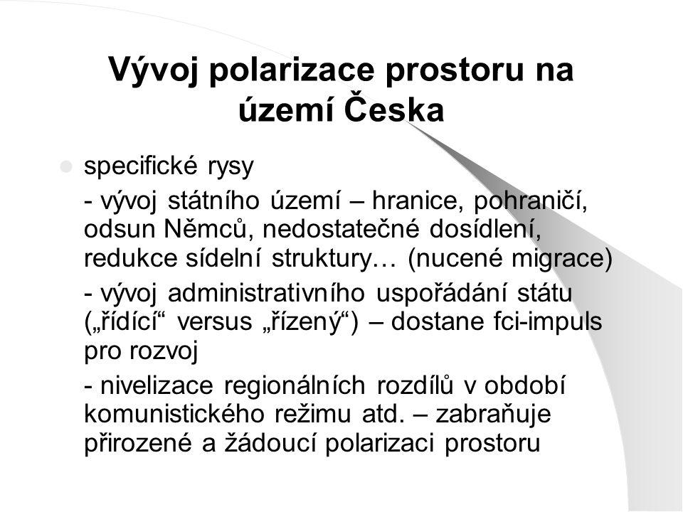 Vývoj polarizace prostoru na území Česka specifické rysy - vývoj státního území – hranice, pohraničí, odsun Němců, nedostatečné dosídlení, redukce síd