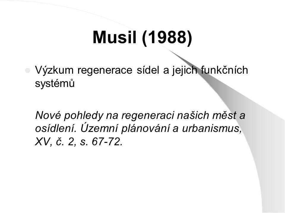 Musil (1988) Výzkum regenerace sídel a jejich funkčních systémů Nové pohledy na regeneraci našich měst a osídlení. Územní plánování a urbanismus, XV,