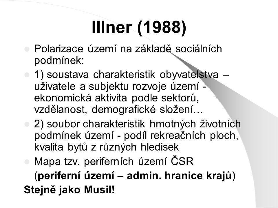 Illner (1988) Polarizace území na základě sociálních podmínek: 1) soustava charakteristik obyvatelstva – uživatele a subjektu rozvoje území - ekonomic