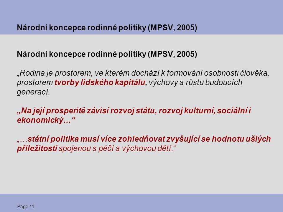 """Page 11 Národní koncepce rodinné politiky (MPSV, 2005) """"Rodina je prostorem, ve kterém dochází k formování osobnosti člověka, prostorem tvorby lidskéh"""