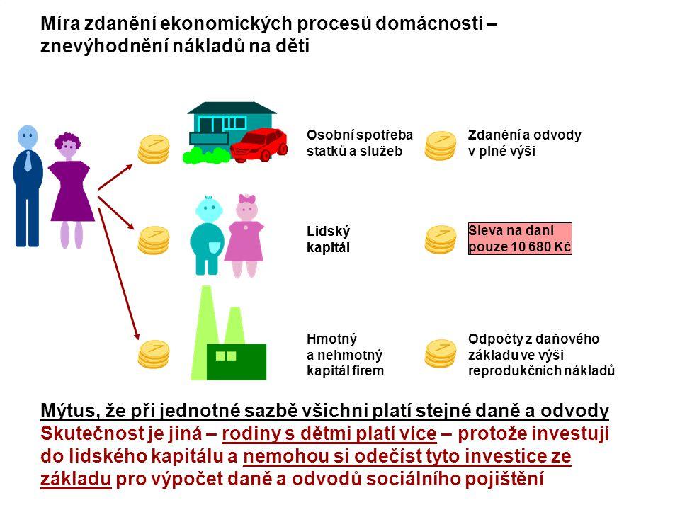 Page 12 Míra zdanění ekonomických procesů domácnosti – znevýhodnění nákladů na děti Mýtus, že při jednotné sazbě všichni platí stejné daně a odvody Sk