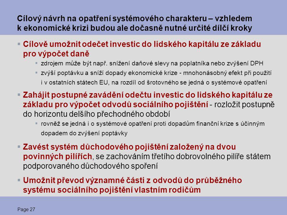 Page 27 Cílový návrh na opatření systémového charakteru – vzhledem k ekonomické krizi budou ale dočasně nutné určité dílčí kroky  Cílově umožnit odeč