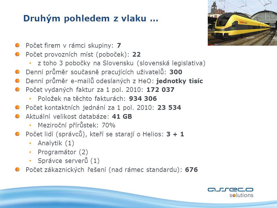 Druhým pohledem z vlaku … Počet firem v rámci skupiny: 7 Počet provozních míst (poboček): 22 z toho 3 pobočky na Slovensku (slovenská legislativa) Denní průměr současně pracujících uživatelů: 300 Denní průměr e-mailů odeslaných z HeO: jednotky tisíc Počet vydaných faktur za 1 pol.