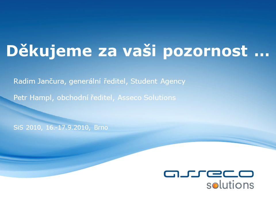Děkujeme za vaši pozornost … Radim Jančura, generální ředitel, Student Agency Petr Hampl, obchodní ředitel, Asseco Solutions SiS 2010, 16.-17.9.2010, Brno