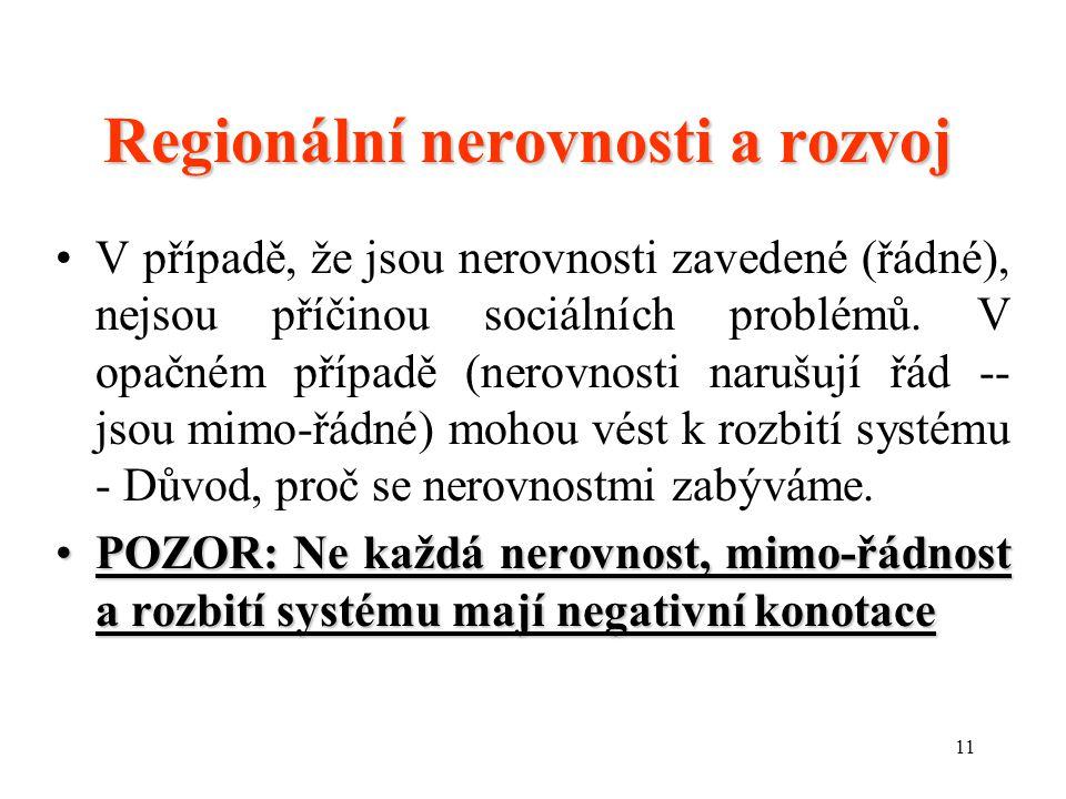 11 Regionální nerovnosti a rozvoj V případě, že jsou nerovnosti zavedené (řádné), nejsou příčinou sociálních problémů.
