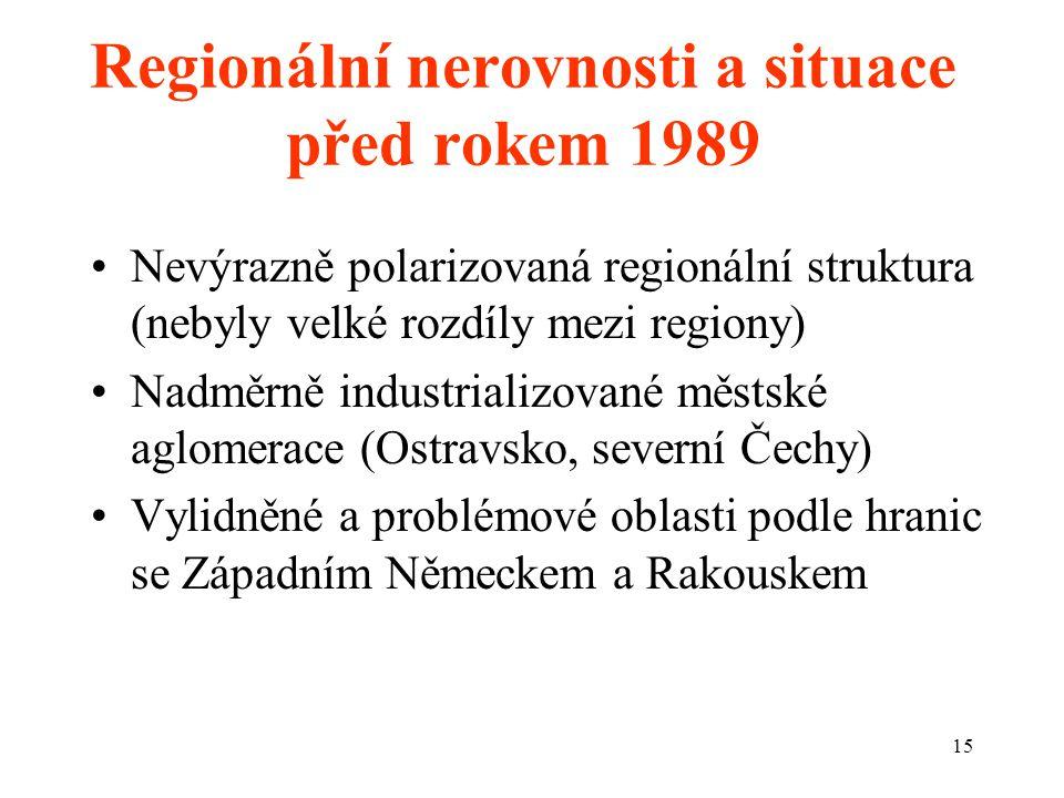 15 Regionální nerovnosti a situace před rokem 1989 Nevýrazně polarizovaná regionální struktura (nebyly velké rozdíly mezi regiony) Nadměrně industrializované městské aglomerace (Ostravsko, severní Čechy) Vylidněné a problémové oblasti podle hranic se Západním Německem a Rakouskem