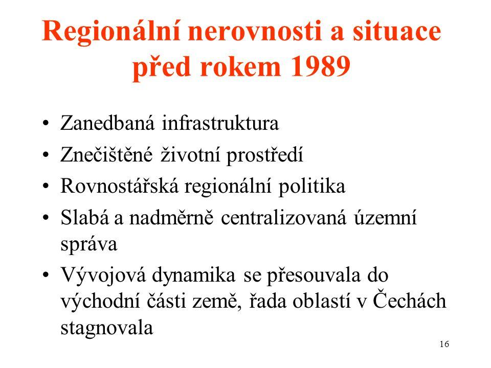 16 Regionální nerovnosti a situace před rokem 1989 Zanedbaná infrastruktura Znečištěné životní prostředí Rovnostářská regionální politika Slabá a nadměrně centralizovaná územní správa Vývojová dynamika se přesouvala do východní části země, řada oblastí v Čechách stagnovala