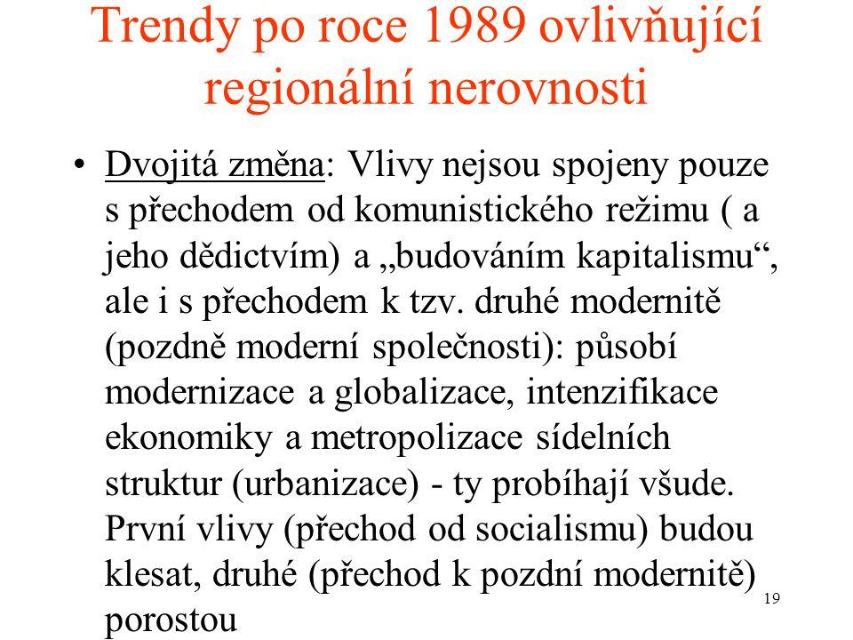 """19 Trendy po roce 1989 ovlivňující regionální nerovnosti Dvojitá změna: Vlivy nejsou spojeny pouze s přechodem od komunistického režimu ( a jeho dědictvím) a """"budováním kapitalismu , ale i s přechodem k tzv."""