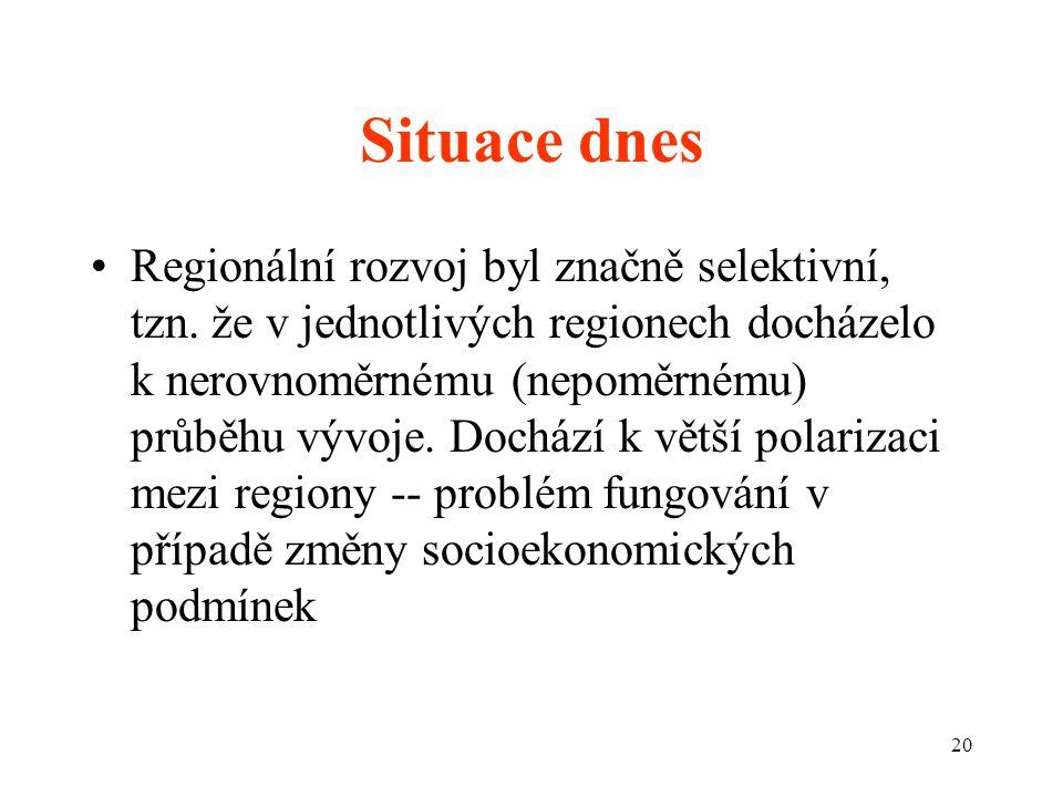 20 Situace dnes Regionální rozvoj byl značně selektivní, tzn.