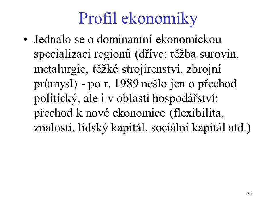 37 Profil ekonomiky Jednalo se o dominantní ekonomickou specializaci regionů (dříve: těžba surovin, metalurgie, těžké strojírenství, zbrojní průmysl) - po r.