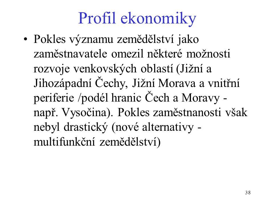 38 Profil ekonomiky Pokles významu zemědělství jako zaměstnavatele omezil některé možnosti rozvoje venkovských oblastí (Jižní a Jihozápadní Čechy, Jižní Morava a vnitřní periferie /podél hranic Čech a Moravy - např.