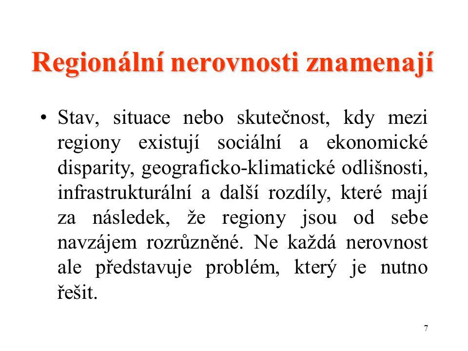 7 Regionální nerovnosti znamenají Stav, situace nebo skutečnost, kdy mezi regiony existují sociální a ekonomické disparity, geograficko-klimatické odlišnosti, infrastrukturální a další rozdíly, které mají za následek, že regiony jsou od sebe navzájem rozrůzněné.