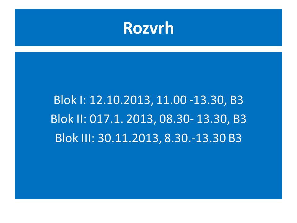 Rozvrh Blok I: 12.10.2013, 11.00 -13.30, B3 Blok II: 017.1. 2013, 08.30- 13.30, B3 Blok III: 30.11.2013, 8.30.-13.30 B3