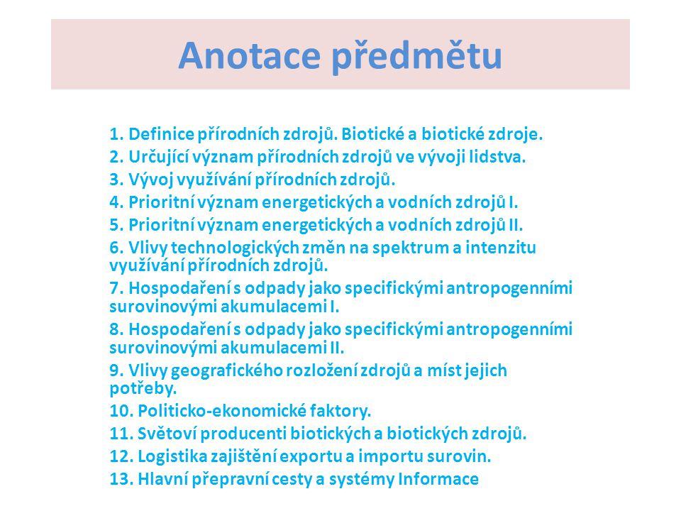 Anotace předmětu 1. Definice přírodních zdrojů. Biotické a biotické zdroje. 2. Určující význam přírodních zdrojů ve vývoji lidstva. 3. Vývoj využívání
